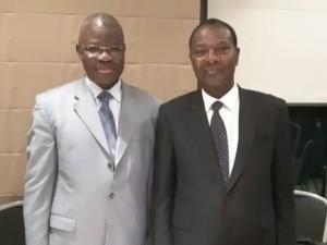 Le ministre Eric Kahe, en compagnie du ministre, le Pr Touré Saliou: quand l'étudiant retrouve le maître.