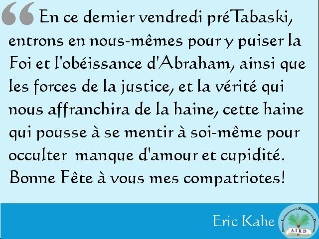 Les mots du président Eric Kahe à l'occasion de la Tabaski